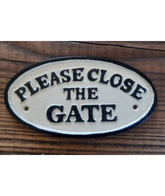 Cast Iron Plaque - Please Close The Gate